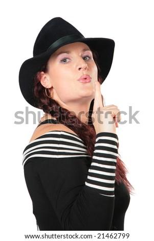 Portrait of beauty woman in black hat makes gesture smoking gun by finger