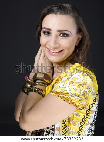 portrait of beauty young woman in yellow dress