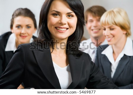 Portrait of better specialist on the background of  business team