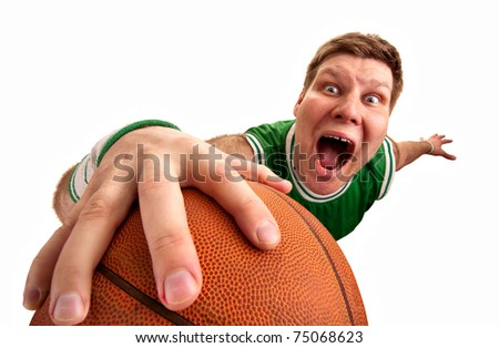 Portrait of bizarre basketball player shooting ball to basket. Isolated on white