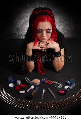 stock photo : Portrait of bizarre red hair Gothic Girl with make-up. Low