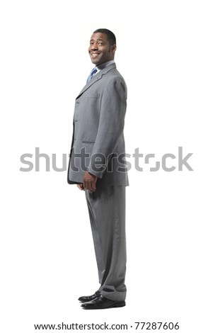 portrait of black businessman with suit over white background