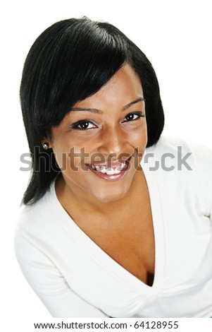Portrait of black woman smiling isolated on white background