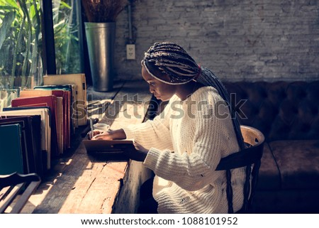 Portrait of black woman with dreadlocks hair Photo stock ©