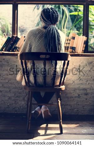 Portrait of black woman with dreadlocks hair #1090064141