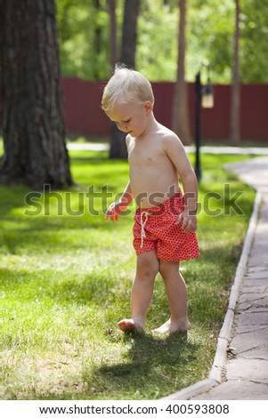 73904dcd3 Portrait of blonde baby boy in red shorts walking in summer park #400593808