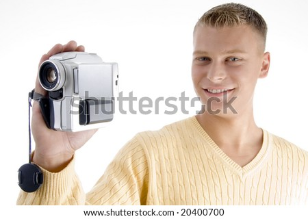 portrait of blonde man with handy cam on an isolated white background