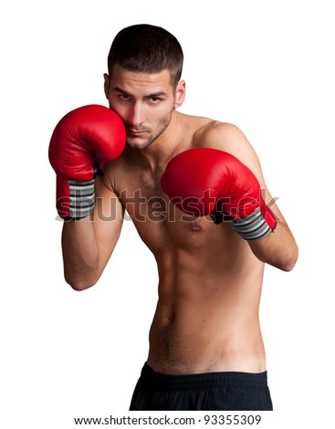 Portrait of boxer isolated on white background
