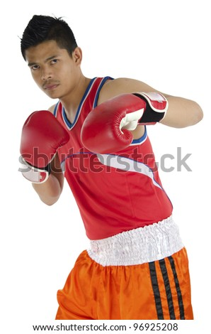 Portrait of boxer poses punch style.