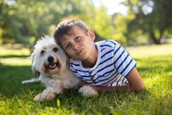Portrait of boy with dog in park on sunny a day