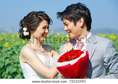 portrait of bride and groom seeing each other on sunflower field