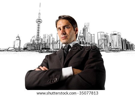 portrait of business man on a city scape background