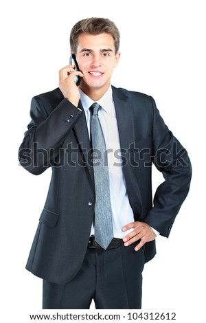 portrait of business man with mobile phone
