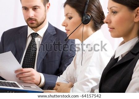 Portrait of business people working in office - stock photo