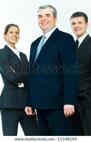 Portrait of business team with mature leader in front