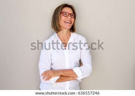 Portrait of business woman with glasses smiling  #636557246