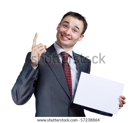 portrait of businessman holding a blank banner