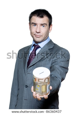 Portrait of businessman holding money box begging for money in studio on isolated white background