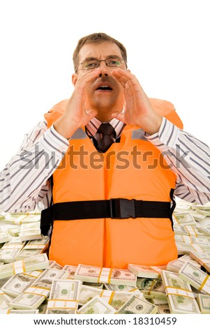 Portrait of businessman in financial trouble crying for help