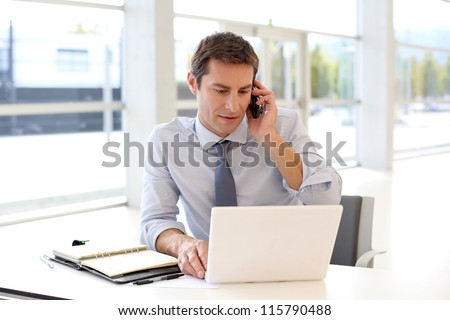 Portrait of businessman talking on mobile phone in office