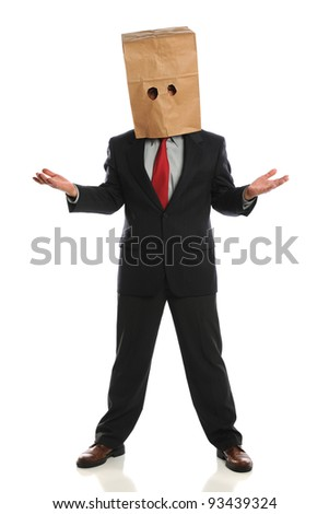 Portrait of businessman wearing paper bag over head isolated over white background - stock photo