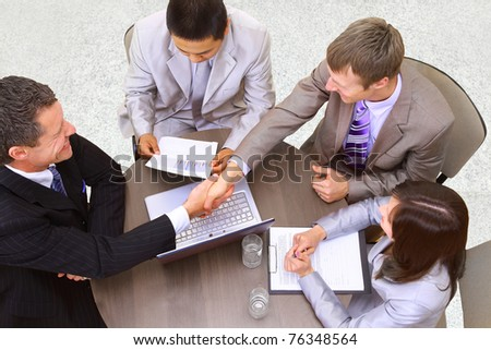 Portrait of businesspeople having a business meeting