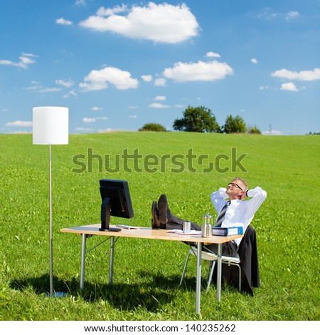 Portrait of businesspeople resting in the office outdoors #140235262