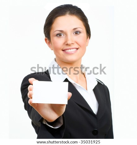 Portrait of  businesswoman in suit holding his visiting card