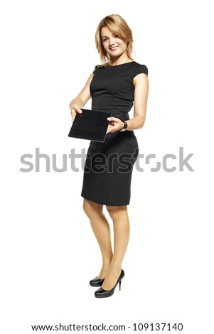 Portrait of businesswoman isolated on white background.Attractive businesswoman showing digital tablet.