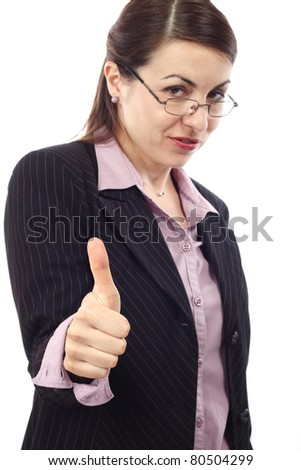 Portrait of  businesswoman showing OK sign  over white background