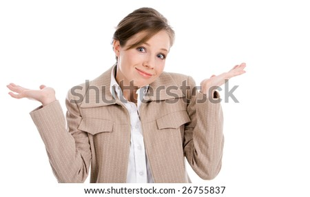 Portrait of businesswoman shrugging and looking at camera with smile