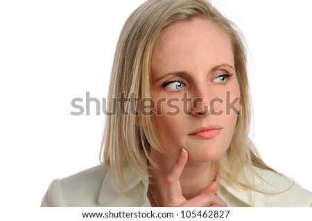 Portrait of businesswoman thinking isolated over white background
