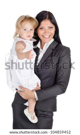 Portrait of businesswoman with her child. Isolated on the white background