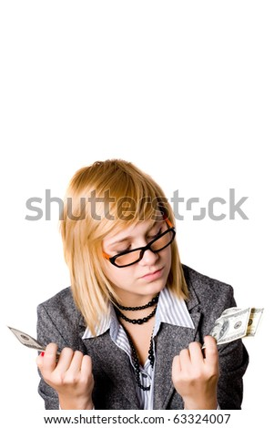 portrait of businesswoman with money isolated on white background