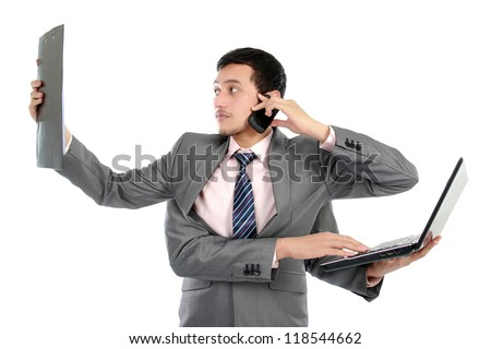 portrait of busy business man do more than one job