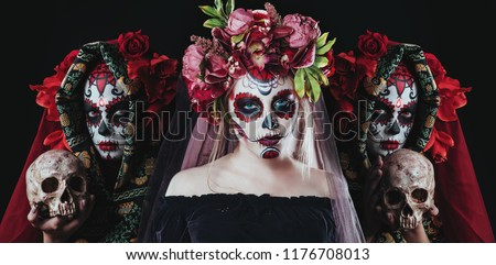 Stock Photo Portrait of Calavera Catrina. Sugar skull makeup. Dia de los muertos. Day of The Dead. Halloween.