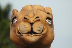 portrait of camel head statue close up