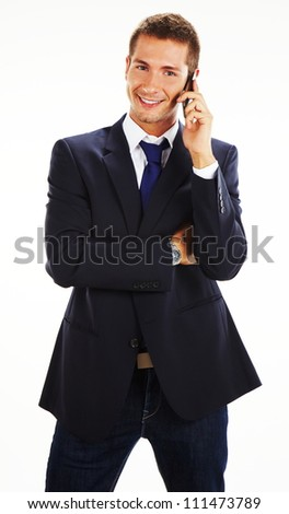 Portrait of casual businessman talking on mobile phone. Isolated on white.