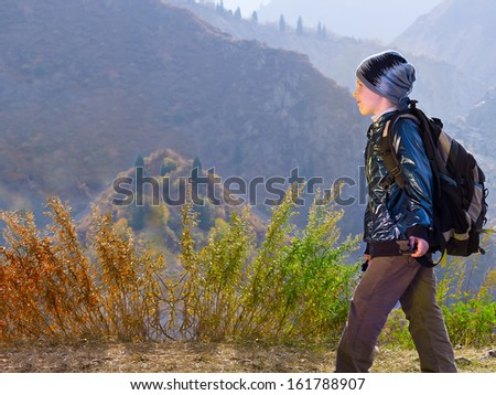 Portrait of caucasian boy in hiking
