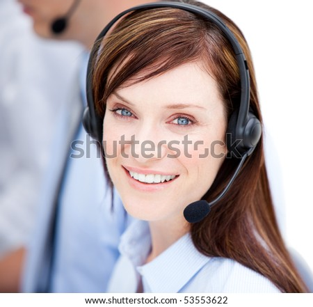Portrait of caucasian businesswoman with headset on against white background