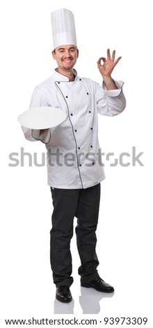 portrait of caucasian chef on white