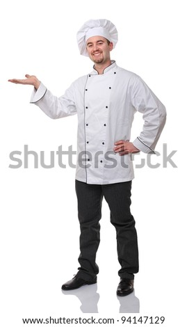 portrait of caucasian chef on white