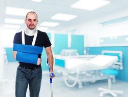 portrait of caucasian injured man in hospital
