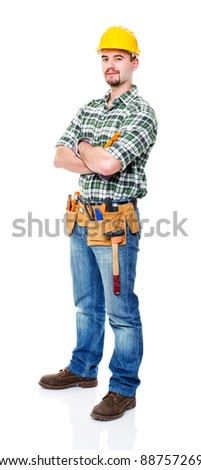 portrait of caucasian manual worker on white