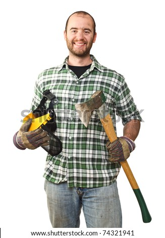 portrait of caucasian smiling lumberjack on white background - stock photo