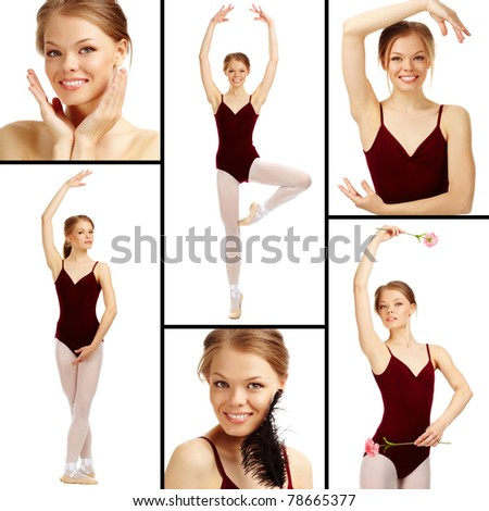 Portrait of charming ballet dancer on white looking at camera