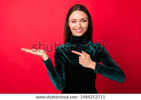 Portrait of charming lady  promoter have adverts recommend tips pick way isolated over red background