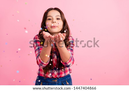 Portrait of charming lovely nice kid send air kisses have weekend free time feel innocence relax rest wear fashionable checked clothing isolated pastel-colored background #1447404866