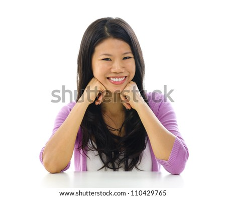 Portrait of cheerful Asian woman over white background