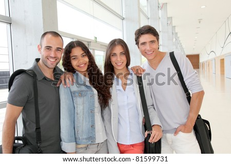 Portrait of cheerful college students
